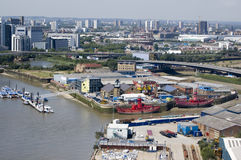 Trinity Buoy Wharf, Newham, London. View from above of the River Thames and River Lea and the island with Trinity Buoy Wharf in Newham, East London. East India stock photos