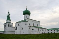 Trinity Cathedral and bell tower the Alexander-Svirsky Monastery Leningrad region Russia stock photo