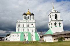 Trinity cathedral and bell tower in ancient Pskov Kremlin, Russia Stock Images