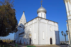 Trinity Cathedral and belltower. Sacred and Troitsk Danilov monastery. Yaroslavl region. Pereslavl-Zalessky Stock Images