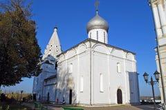 Trinity Cathedral and belltower. Sacred and Troitsk Danilov monastery. Yaroslavl region. Pereslavl-Zalessky. Trinity Cathedral and belltower. Sacred and Troitsk Stock Images
