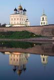 Trinity Cathedral and its reflection in the river is Great in the may twilight. Pskov Royalty Free Stock Photo