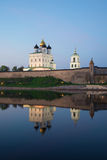 Trinity Cathedral and its reflection in the river is Great in the twilight. Pskov, Russia Stock Image