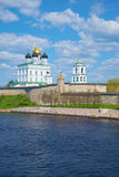 Trinity Cathedral in the Pskov Kremlin, may day. The view from the Velikaya river, Russia Stock Photo