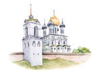 Trinity Cathedral of Pskov Kremlin, Russian Orthodox church, watercolor illustration. Trinity Cathedral of Pskov Kremlin, Russian Orthodox church with golden Stock Photos