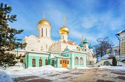 The Trinity Cathedral in the Sergius Lavra. In Sergiev Posad on a winter sunny frosty day Stock Photos