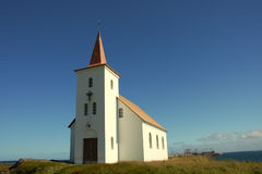 Trinity Church. Modern building of Trinity Church situated on seashore of North Sea, Iceland Royalty Free Stock Photos