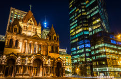 Trinity Church and the John Hancock Building at night, at Copley Stock Images