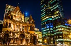 Trinity Church and the John Hancock Building at night, at Copley Stock Images