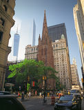 Trinity Church in Manhattan, New York City. New York, USA - June 14, 2014: Third Trinity Church (was finished in 1846). Trinity Church is near the intersection Royalty Free Stock Images