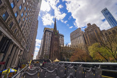 Trinity Church in Manhattan viewed from excursion bus Royalty Free Stock Photo