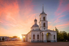 Trinity Church in Ostrov. Pink in the morning sky Royalty Free Stock Photos