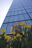Trinity Church reflecting on John Hancock tower in Copley Square Stock Images
