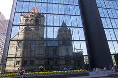 Free Trinity Church Reflecting On John Hancock Tower In Copley Square Boston Royalty Free Stock Images - 54344879
