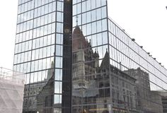 Trinity Church Reflection on a Modern Glass Skyscraper from Boston downtown in Massachusettes State of USA Royalty Free Stock Photos