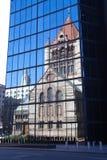 Trinity Church reflection, USA, North America. Trinity Church in the City of Boston, USA stock photos