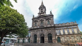 The Trinity Church timelapse hyperlapse in Porto stock video footage