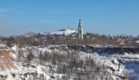 Trinity Church and Tower on Fox Hill. Nizhny Tagil. Sverdlovsk region. Royalty Free Stock Photo