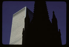 Trinity Church and WTC. In downtown Manhattan Royalty Free Stock Photography