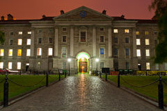 Trinity College. Evening shot taken of the building of the Trinity College of Dublin Royalty Free Stock Image