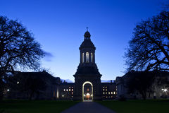 Trinity college. Blue hours shot taken of the building of the Trinity College of Dublin Royalty Free Stock Photography