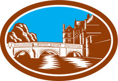 Trinity College Bridge Cambridge Woodcut Stock Images