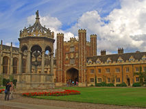 Trinity College, Cambridge University. In summer, inner courtyard Royalty Free Stock Image