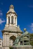 Trinity College. Campanile . Dublin. Ireland. Trinity College. Campanile and  statue of William Lecky viewed from Parliament square. Dublin. Ireland Stock Photos
