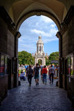 Trinity College. Dublin, Ireland. August 18, 2015. Campanile (bell tower) in Trinity College Stock Photography