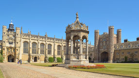 Trinity College Fountain, Great Gate and Chapel. Stock Photography