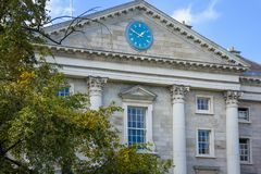 Trinity College. Regent House. Clock . Dublin. Ireland. Trinity College. the Entrance viewed from Parliament square. Dublin. Ireland royalty free stock photo