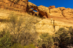 Trinity Double Arch. In Muley Twist Canyon, Capitol Reef National Park, Utah Stock Photography
