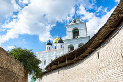 Trinity Holy Trinity Cathedral in Pskov. Beautiful  photography of Holy Trinity Cathedrall in Pskov Stock Photography
