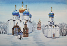 Trinity Lavra av St Sergius Stock Illustrationer