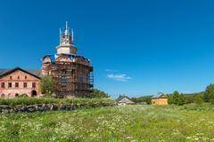 On the territory of the monastery. Trinity monastery on an island Anzer Russia, Arkhangelsk region, Solovki stock photo