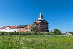 Trinity monastery on an island Anzer. Russia, Arkhangelsk region, Solovki royalty free stock photo
