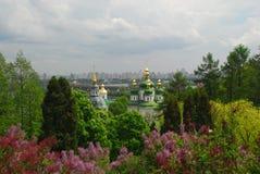 Trinity Monastery of St. Jonas Kiev Ukraine travel. Europe spring in lilac flowers Stock Photography