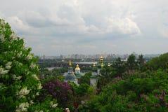 Trinity Monastery of St. Jonas Kiev Ukraine travel. Europe spring in lilac flowers Stock Photo