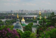 Trinity Monastery of St. Jonas Kiev Ukraine travel. Europe spring in lilac flowers Stock Images