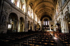 Trinity in Paris. An enpty hall of Trinity in Paris, France Royalty Free Stock Image