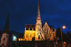 Trinity Presbyterian Church in Cork. Ireland at night. Dark blue sky Royalty Free Stock Photography