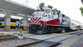 The Trinity Railroad Express is an original commuter train connecting Dallas and Fort Worth, Texas Stock Photos