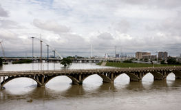 Trinity River in Dallas crested 6 ft over flood stage Royalty Free Stock Images