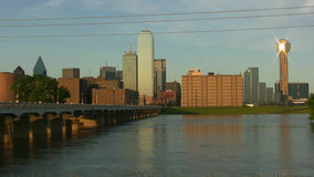 Trinity River Flooded And Dallas Skyline stock video footage