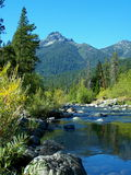 Trinity River, Trinity Alps. The upper Trinity River flows towards Billy's Peak in the Trinity Alps region of Northern California Royalty Free Stock Image