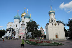 Trinity Sergius Lavra in Russia. Color photo with people. Royalty Free Stock Image