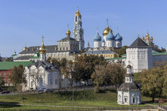 Trinity-Sergius Lavra in Sergiev Posad. The church with a dome and a general view of the laurels Stock Photo