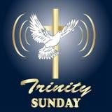 Trinity sunday. Christian church concept. Church sacrament symbol. Holy spirit.Biblical tongues of fire, cross, holy spirit dove. Vector illustration Royalty Free Stock Photo