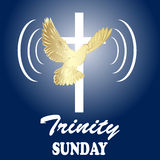 Trinity sunday. Christian church concept. Church sacrament symbol. Holy spirit.Biblical tongues of fire, cross, holy spirit dove. Vector illustration Royalty Free Stock Photos