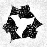 Trinity Sunday. Christian holiday. Three fish, located symmetrically. Black and White. Trinity Sunday. The concept of a religious Christian holiday. Three fish Stock Photography